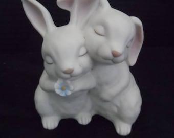 Vintage 1990 Homco Figurine He Loves Me Bunnies    1496