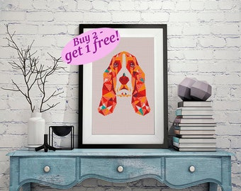 Basset Hound Cross stitch pattern modern dog,geometric cross stitch animal, easy cross stitch pattern PDF, buy 2 get 1 free!