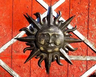 Bon Garden Decor, Metal Sun Wall Art, Outdoor Wall Art, Metal Sun Decor,