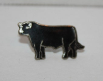 Vintage Black Bull old Animal Enamel Pinback button pin hat lapel