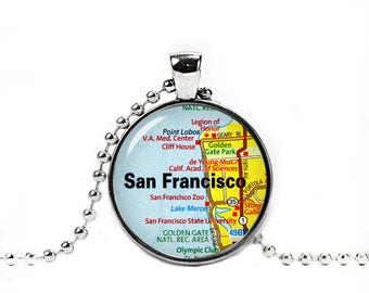 San Francisco Necklace San Francisco Map Pendant San Francisco City Map Necklace City Maps California Jewelry