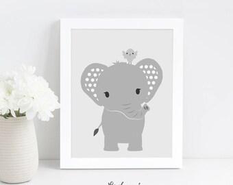 Nursery Wall Art Printable, Elephant Nursery Print, Grey Nursery Wall Art, Safari Animal Nursery Art, Kids Printable Art, Instant Download