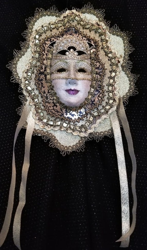"""Beautifully Handcrafted, One of a Kind, Original, Venetian Style Paper Mache Mask, """"Sun Goddess"""", was created by Maskweaver, Soraya Ahmed"""