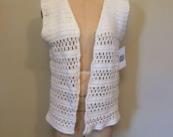 White Open Front  Crochet 1960's Handmade Vintage Vest | Size Small Medium | Bohemian | Festival