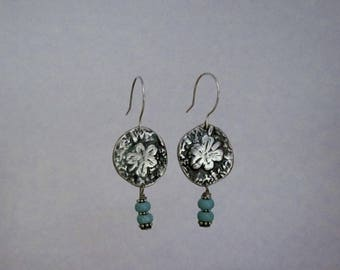Item 4153 - Handcrafted Fine & Sterling Silver Sand dollar Textured Earrings with Genuine Turquoise