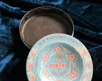 Vintage Dorcas Dressmakers Tin - D F Taylors and Co Ltd - Original Pale Blue Tin