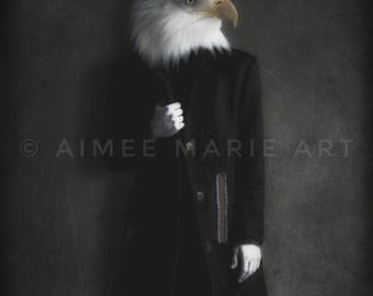 Eagle Print, American Eagle, Photo Art Print, Anthropomorphic, Quirky Art, Wall Art, Home Decor, Eagle Gifts, Dark Art, Gothic, Animal Art