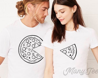 Couple t shirt couple tees pizza t shirt couple tshirts  funny matching couple shirts wedding gift anniversary gift pizza t shirts pizza tee