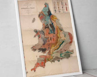Old Map of England | Vintage Geological Survey of England and Wales - Historical Chart Print, Poster, Home Decor, Wall Hanging - English Art