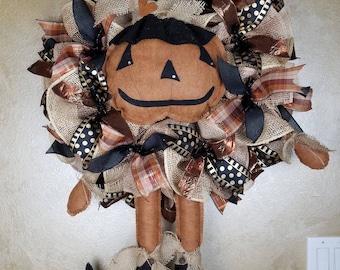 Fall Wreath, Burlap Wreath, Pumpkin Wreath, Autumn Wreath, Fall Decor, Autumn Decor, Front Door Wreath