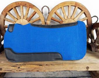 Western Barrel Trail Show Horse Blue Wool Felt Leather Contoured Spine Pad