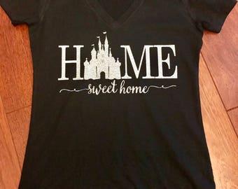 Disney castle ladies HOME v-neck shirt