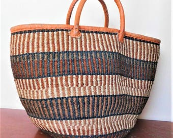 Elegant sisal bag with leather handles/ Handmade woven bag/ Kiondo bag/ African ethnic bag/ Market bag/ African Shopping bag /  Tote bag.