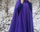 READY TO SHIP - Purple Long Winter Cloak - Full Circle Fleece Medieval Renaissance Hooded Cloak - Costume Cape with hood