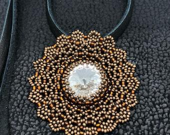 "Spiritual with a Life Energy Swarovski Crystal Hand Beaded Pendant  ""Gold Sun Light"",Mandala Flower Pendant,Charm/Amulet, Necklace"