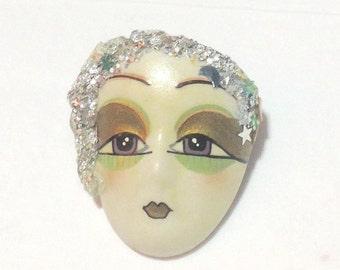 Vintage Porcelain Flapper Face Pin
