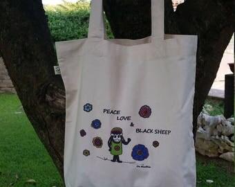 Organic cotton shopping bag with print blacksheep