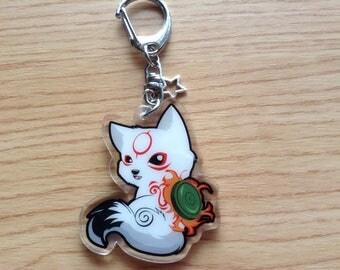 Chibiterasu acrylic keychain, Chibiterasu charm, Okami keychain, Okamiden keychain, wolf keychain, wolf charm, dog keychain, chibiterasu