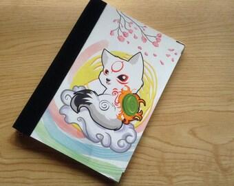 Okamiden Journal, Okami Notebook, Chibiterasu journal, okami, A5 sketchbook, Wolf lover gift, Cute Notebook, Blank Notebook,stationery