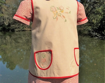 Size 2, Vintage Inspired Dress and Apron, 2 Piece Set, Red Floral Print, Vintage Iron-ons, Tea Dyed Muslin 2T, 24 Months