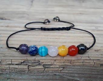 Seven chakra stone bracelet energy bracelet yoga bracelet healing stones 7 chakra bracelet chakra balancing bracelet wrist mala