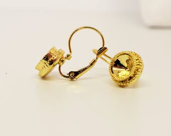 25mm Leverback Earring, with Rope Edge, for SS34 1088 Swarovski, Round Setting, Gold Plated Earring, Earwire Earring, Metal Finding, TM7333