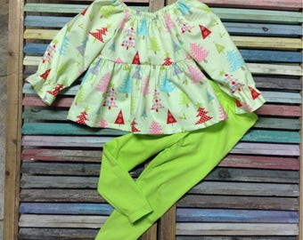 Little girls outfit, Top and leggings outfit, Dress top and leggings, Baby Girls 2 piece set, Girls Christmas outfit, Toddler outfit.