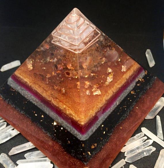 Discounted Orgonite® Pyramid XLarge- Rose Quartz & Gold Orgone Pyramid- Astral Travel- Spirit Guide Communication Pyramid- Arcturian Energy