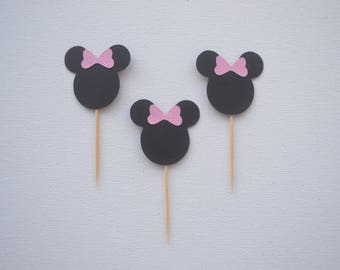 Pack of 10 ~ Minnie Mouse cupcake / treat toppers