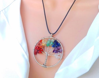 Tree of Life - chakra necklace - crystal necklace - tree of life pendant - chakra jewelry - chakra pendant - healing crystals jewelry