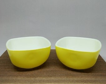 Pyrex Yellow Square 7oz #407 Ramekins, Custard Cups, Hostess Dish, Mid Century Serving Ware