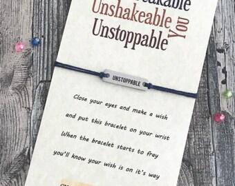 Unstoppable Bracelet Wish Bracelet Favors Wish Bracelet Gift Fitness Gifts Encouraging Bracelet Empowering Bracelet Wish Bracelet