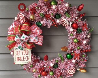 Christmas Wreath for Front Door, Xmas Wreath, Christmas Wreath, Christmas Decor, Tinsel Wreath, Red White Wreath, Jingle Bell Wreath