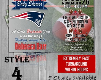 New England Patriots Super Bowl Themed Football Baby Shower Invitations - champions! Postcard invites! New Mom, expecting, party, NFL