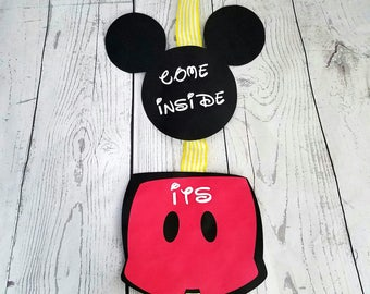 Mickey Mouse Birthday Door Sign, Mickey Mouse Clubhouse Decorations, Mickey Mouse Birthday Decorations, Party Decorations Mickey door hanger