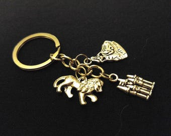 BEAUTY BEAST Fairy Tale Castle Silver Metal Charm Keychain Key Ring Unique Gift