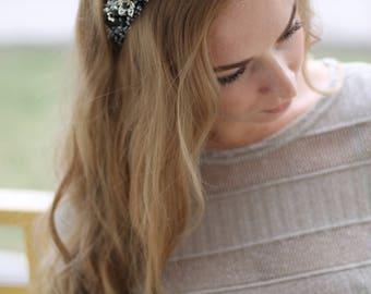 Silver Black tiara ~ Silver Black wedding headband~ Gothic tiara~