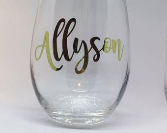 Personalized Name Stemless Wine Glass. Wine. Personalized Wine Glass. VINYL.