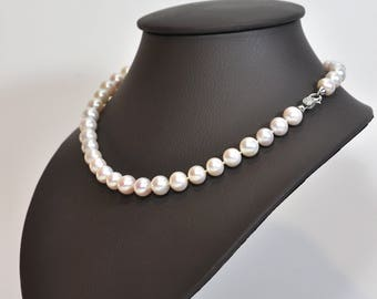 Phebe necklace - cultured pearls and silver