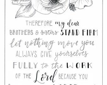 1 Corinthians 15:58 Digital Print PDF