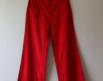 Mens 70's flared red corduroy pants