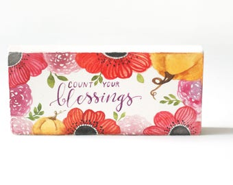 Count your blessings sign, wood sign, fall decor, fall watercolor, fall art, pumpkins, fall flowers,fall decorations,autumn leaves