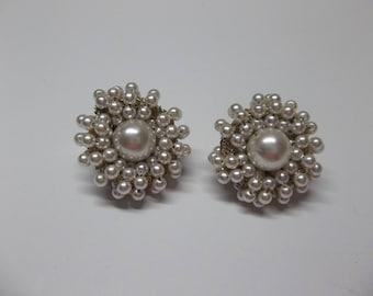 Vintage Pearl White Beaded Earrings Clip Ons