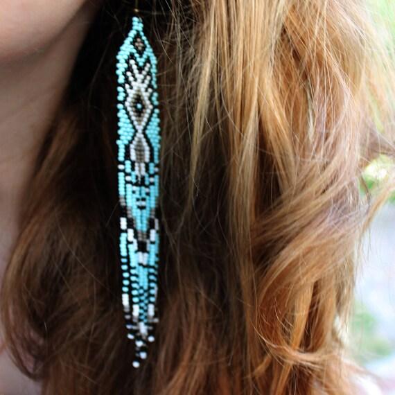Blue gray earrings Ethnic earrings Beaded jewelry Long boho earrings Seed beaded earrings Fringe earrings Dangle earrings Hippie Jewelry