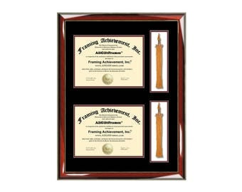 double graduation tassel box two diploma frame with dual degree college university document framing tassle holder - Diploma Frames With Tassel Holder