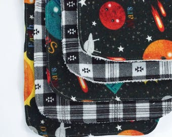 Solar System Contoured Burp Cloths: Set of Five