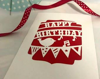 birthday card handmade, papercutting