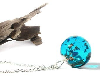blue resin galaxy necklace, resin jewelry, resin and copper flake, resin pendant, nature inspired, one of a kind, unique gift