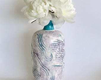 Handmade Turquoise, White and Purple Textured Vase