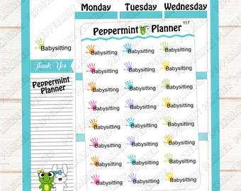 Babysitting Planner Stickers --- Babysitting Tracker --- 117